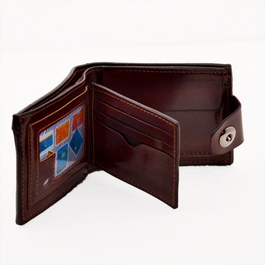 Brown Men Casual Leather Wallet large 2