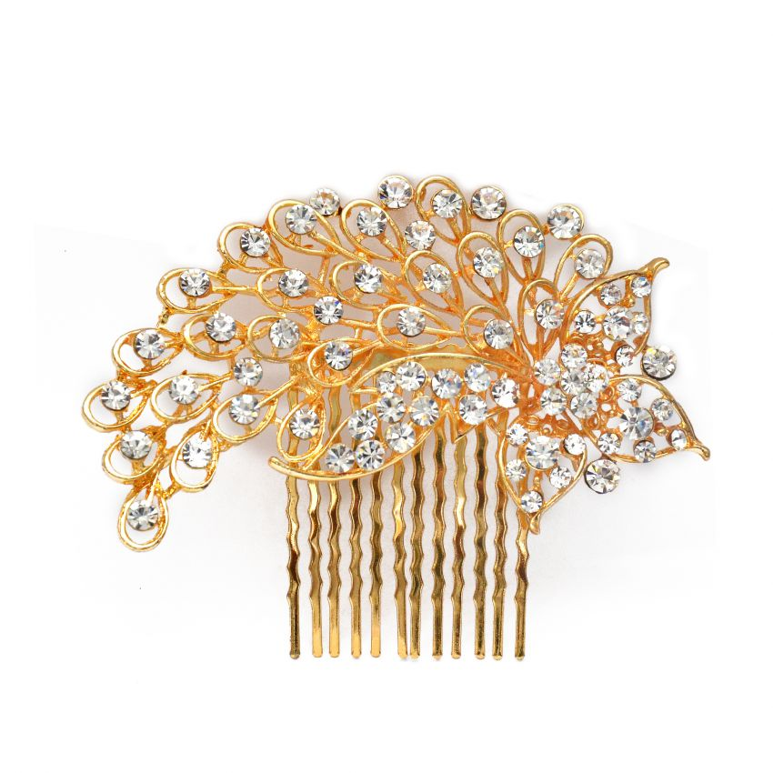 Peacock Feather Design Gold Plated Fashion Hair Ornaments large 1