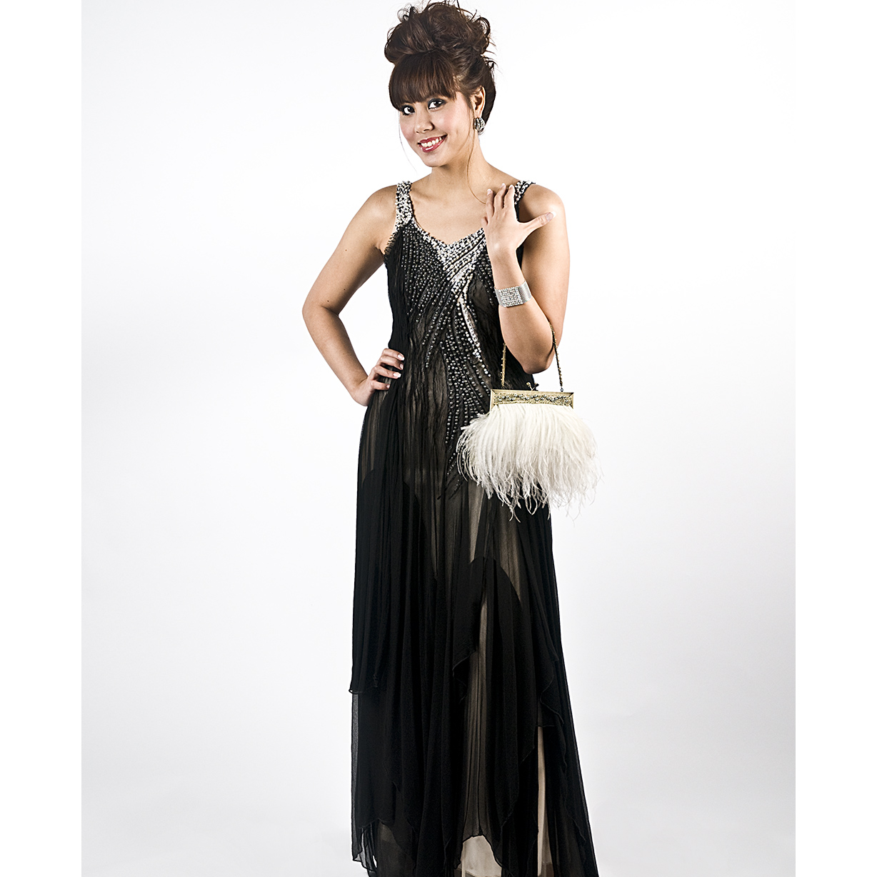 Long Black Layered Gown with Pearl Embelishment large 1