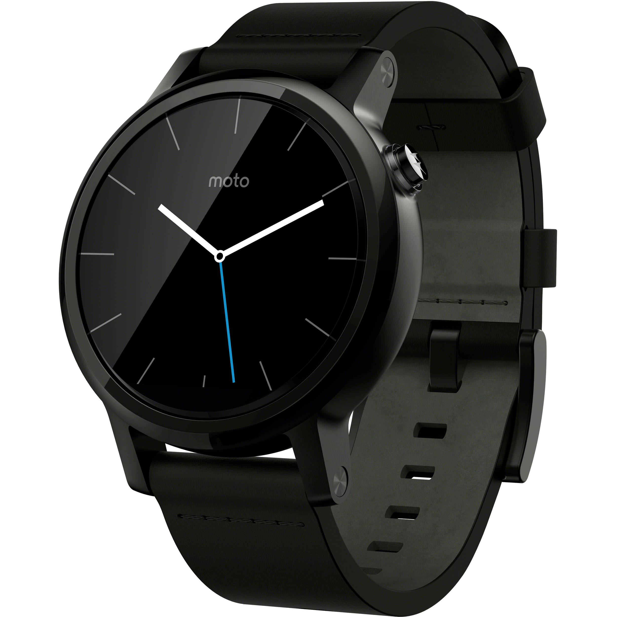 Moto 2nd Gen Black Leather Smartwatch large 1