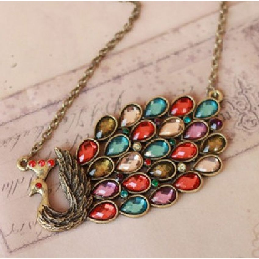 Colourful Vintage Peacock Necklace large 1