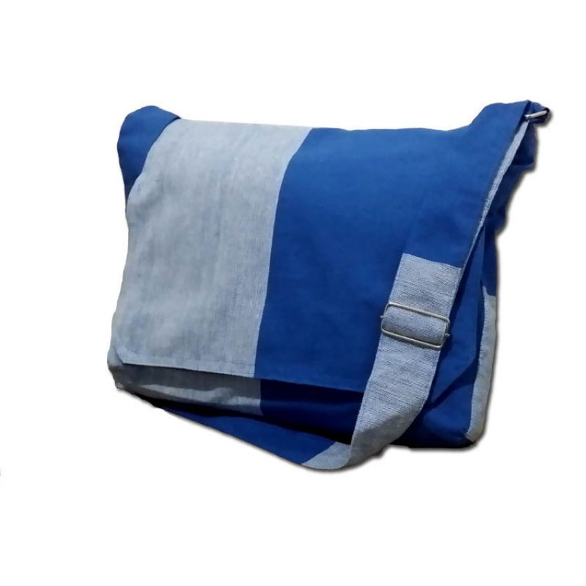 Blue And Grey Handloom Bags large 1