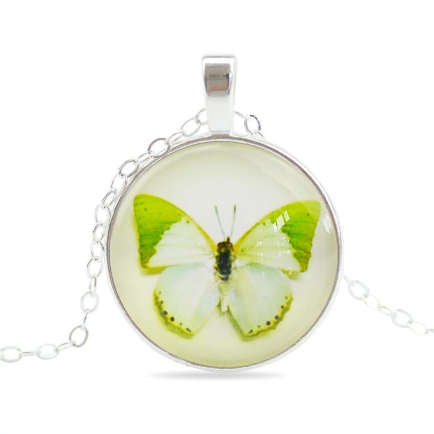 Women Vintage Light Green Butterfly Necklace large 1
