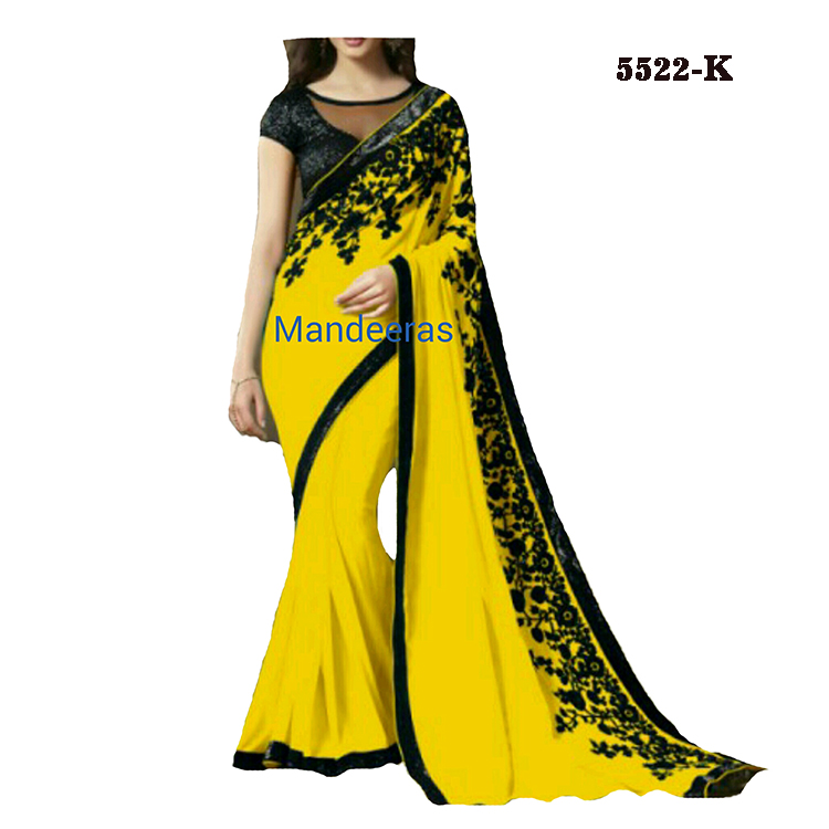 Plain  Color Saree With Black Thread Work Design No 5522K large 1