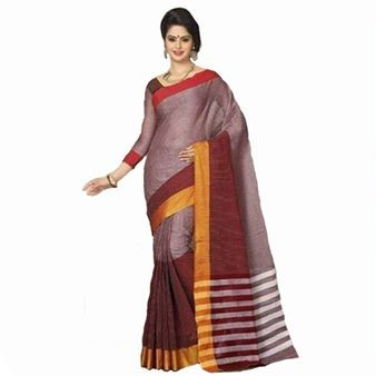 Red & Black Cotton Fancy Saree large 1
