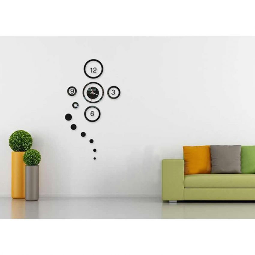 3D Wall Sticker Clock Circles with Mirror Effect large 1