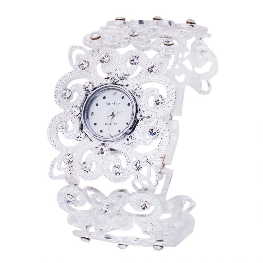 Women's Luxury Crystal Silver Bracelet Wrist Watch large 1
