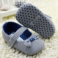 Soft Bottom Blue Stripe Baby Shoes