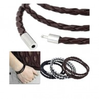 Men's Wraparound Leather Wrist Band With Metal Link Set