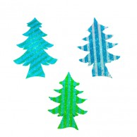 10 pieces Pack of Stripes Designed Multi Color Christmas Decoration Trees Stickers