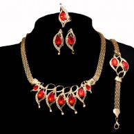 18k YG Filled Red Austrian Crystal Fashion Jewelry Set SHS 1506
