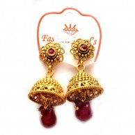 Red Water Drop Gold Plated Fashion Earrings