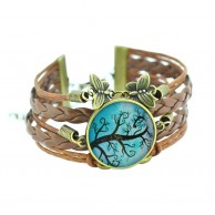 Women Vintage Tree Multilayer Leather Bracelet
