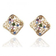 1 Pair of Crystal Rhinestone Earrings Fashion Jewellery E 001