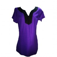 Women's Purple Linen Short Sleeve Blouse