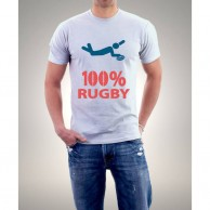 White 100% Rugby TShirts