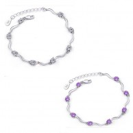 Women's Sterling Silver White Stone And Purple Stone Bracelet