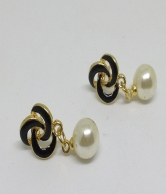 Whiter Pearl Black Colour Gold Plated Women Earring