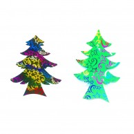 10 pieces Pack of Star Designed Multi Color Christmas Decoration Trees Stickers