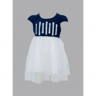 White Line Cloth Designed Girl Frock - Blue