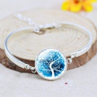 Vintage Silver Plated Tree Picture Bracelet