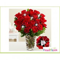 Red Roses with Glass vase Crystal Arrangement RM008