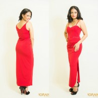 Red evening wear maxi dress - W009
