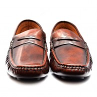 brown and black casual loafers