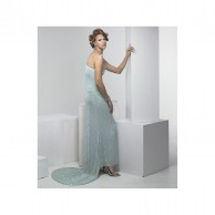 Long Light Blue Sequins Gown with Tail
