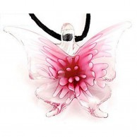 Pink Butterfly Pendant Necklace