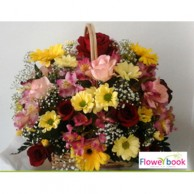 Mix colour roses and super daisy flower arrangement GW003