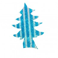 Pack Of 10 Blue And White Striped Christmas Decoration Tree Stickers