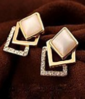 Cute Square Rhinestone Ear Stud