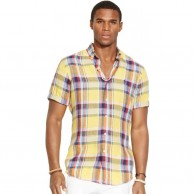 Men's Madras Check Shirt Short Sleeve Yellow