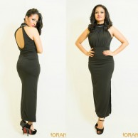 Black evening wear dress - W010