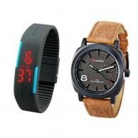 Pack Of 2 Curren Black & LED Watch