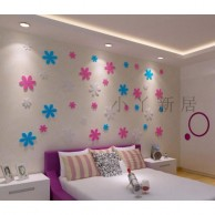 3D Flat Wall Decoration Flowers in Blue and Pink