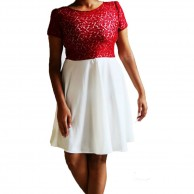 White n Red Lace Dress