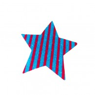 Pack Of 10 Blue And Red Striped Christmas Decoration Star Stickers