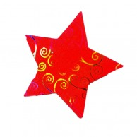 Pack Of 10 Red And Gold Designed Christmas Decoration Star Stickers