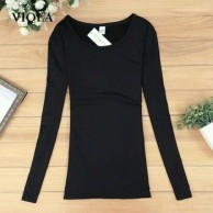 Long Sleeve T Shirt Women Slim Solid O Neck Tops