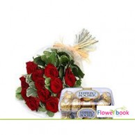 Ferrerocher chocolate with red roses sheaf CHO007