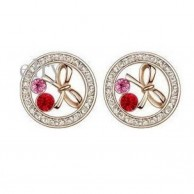 Elegant Red Crystal BowKnot Studs