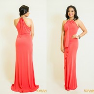 Watermelon red evening dress - W014