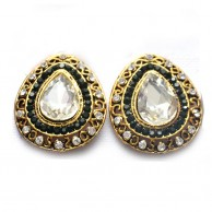 White Stoned Fashion Gold Plated Wedding Earrings