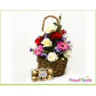 White Roses and Mix Color Gerbara Basket with 16pcs Ferre Chocolates RM006