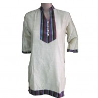 Handloom Ladies White Kurti