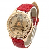 Red Eiffel Tower Leather Watch LW015