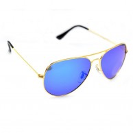 Sky Blue Aviator Polarized Sunglasses For Men With Pouch