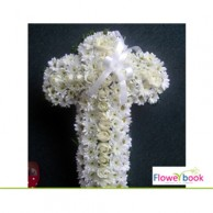 White roses 20 nos with white chrysanthimum cross arrangement SM0015